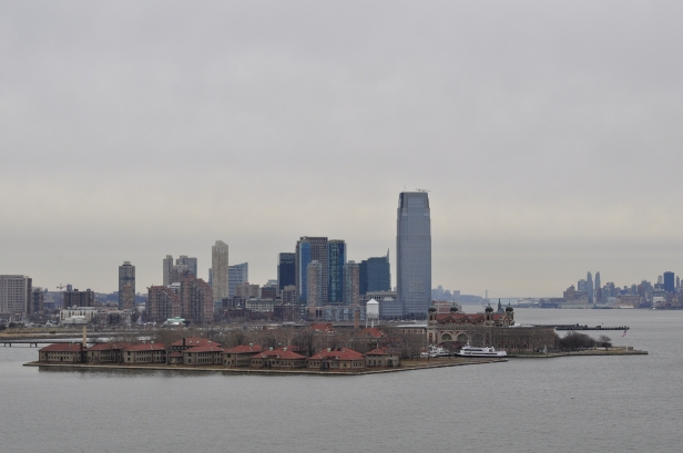 The view of Ellis Island from the Statue of Liberty pedestal