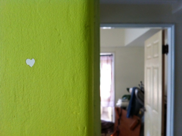 We stayed at Josie's when we went down to Taichung, and I thought this heart chip in the paint was absolutely perfect.