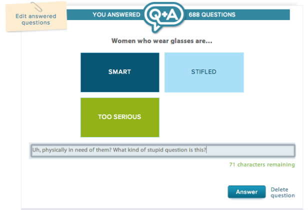 eHarmony asks hard-hitting questions like this one. I didn't actually answer it because really, what are those choices?