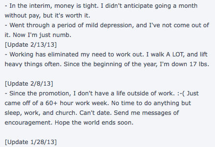You know this is a dating site and not your diary, right dude?