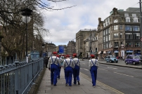 Walking around Edinburgh, many people were in costume in preparation for a big soccer game that day.