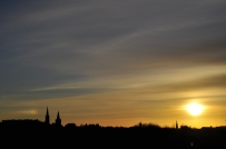 The sunset over Edinburgh