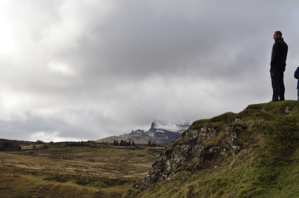 See that little point sticking up in the distance? That's the Old Man of Storr again, a few kilometers down the coast.